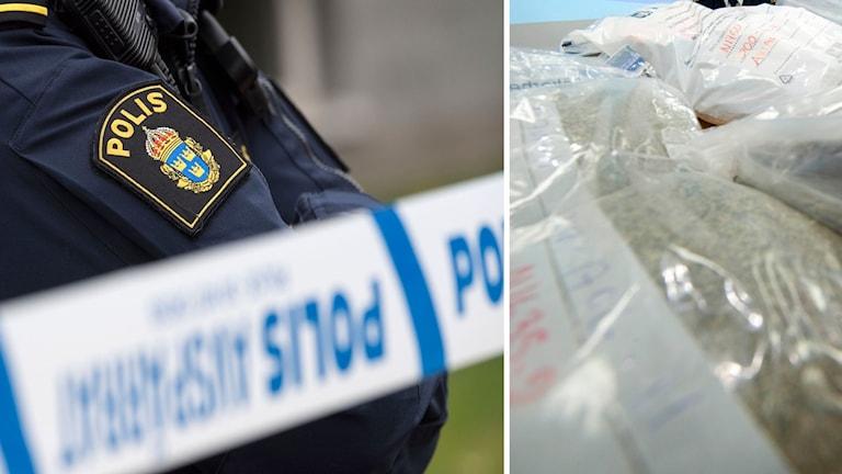 Enligt polisen är två män anhållna misstänkt för grovt narkotikabrott.
