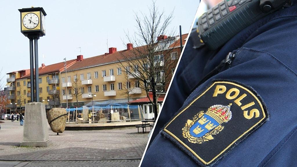 Torget i Kumla och en bild på en polis.