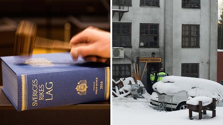 En domarklubba på en lagbok och en bild på huset i Mossgruvan.