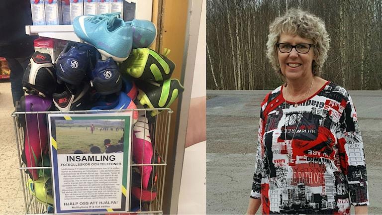 Birgitta Johansson, 67 år,  initierade en insamling av fotbollsskor till barn i Tanzania.