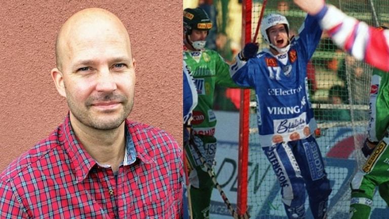 Porträttbild på Mattias Sjöholm och Mattias Sjöholm som målskytt 1998.