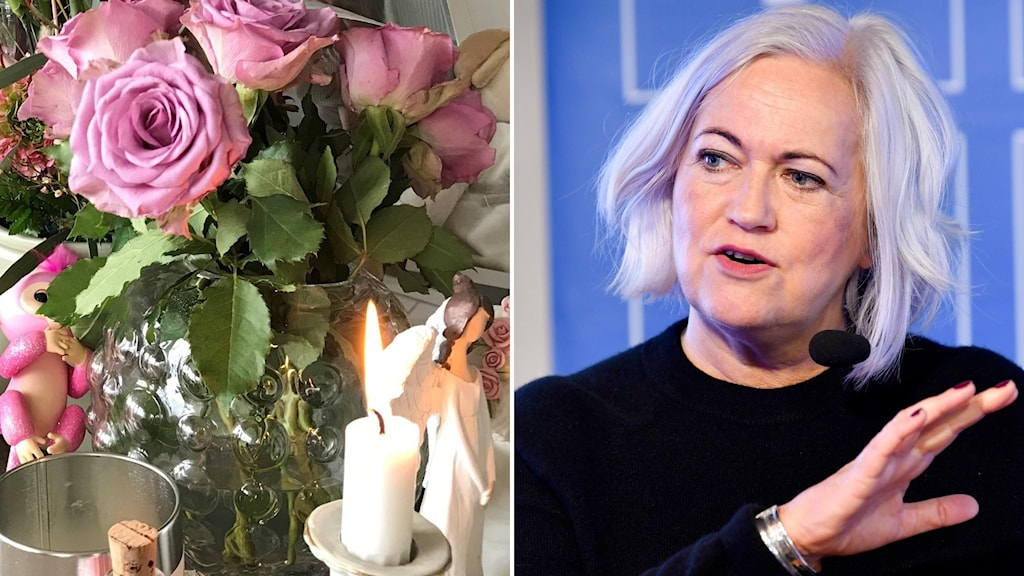 Kristdemokraten Acko Ankarberg Johansson, ordförande i socialutskottet (t.h), blommor till minne av den döda treåringen (t.v).