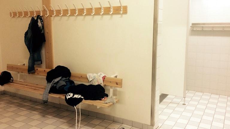 Omklädningsrum på Folkungaskolan i Linköping.