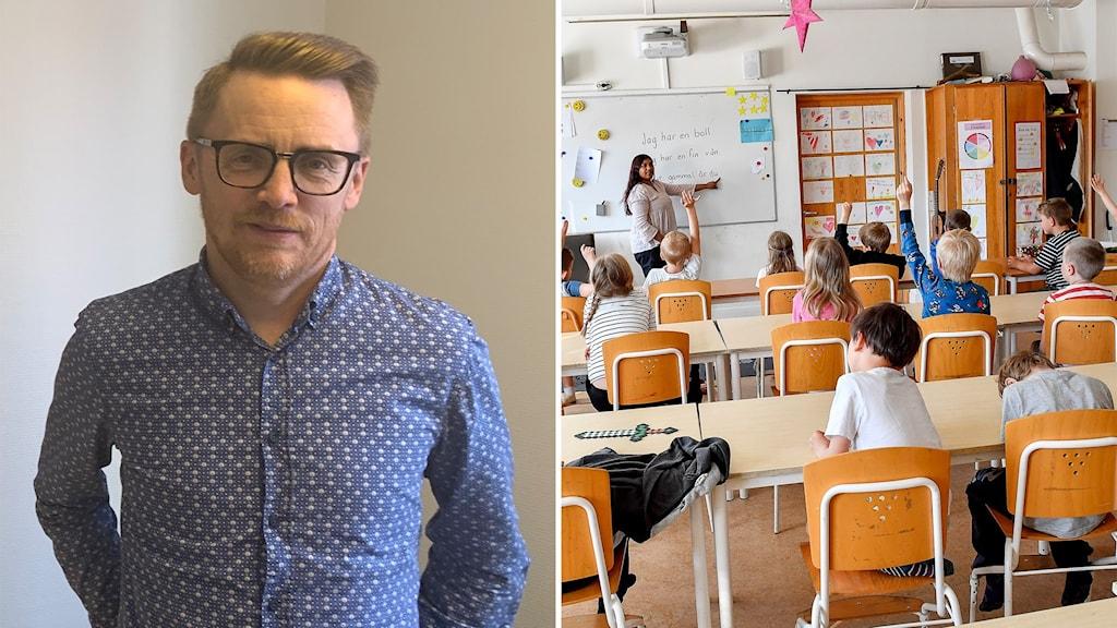 Niclas Sjöström, kommunombud i Norrköping vid Lärarnas Riksförbund. Genrebild klassrum.