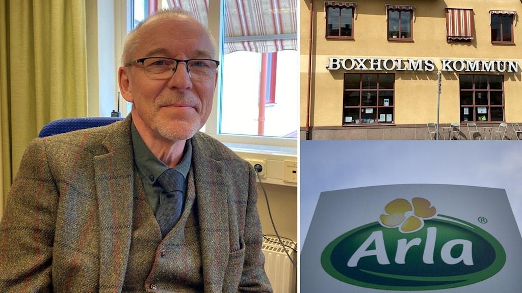 Göran Lundström kommundirektör i Boxholm till vänster. Till höger syns kommunhuset och Arlas logotyp.