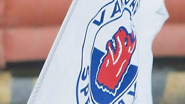 Vargarnas flagga väntar på allsvensk final. Foto: Kim Hellström.