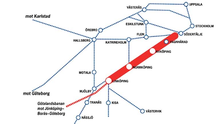 Ostlänken Linköping-Stockholm. Karta: Trafikverket