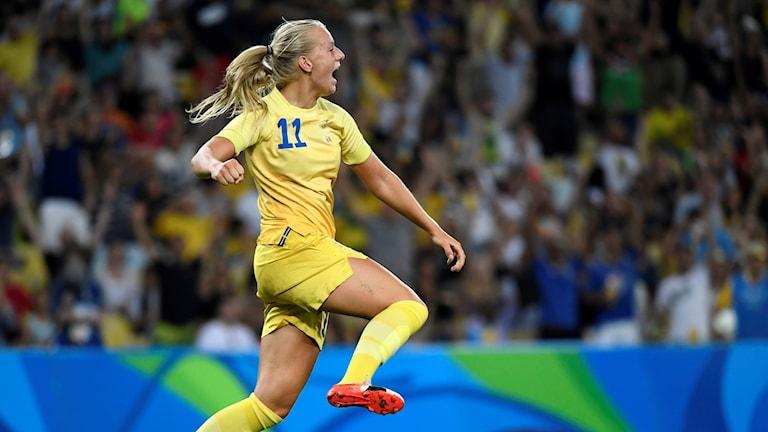 Stina Blackstenius i OS-finalen. Arkivbild: Pontus Lundahl/TT