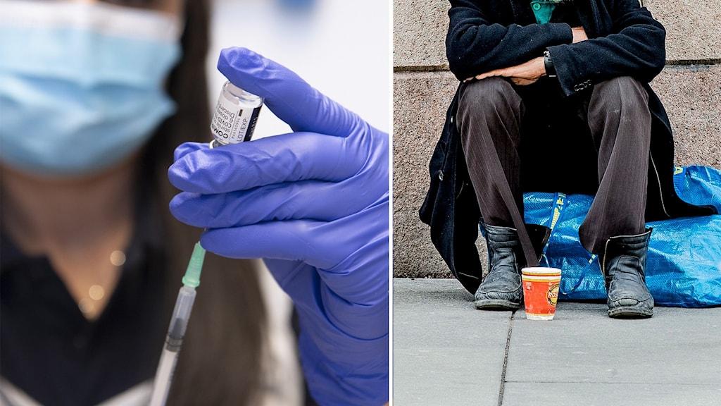 Sjuksköterska förbereder en dos av vaccin mot covid-19. Hemlös man lutar sig mot husvägg.