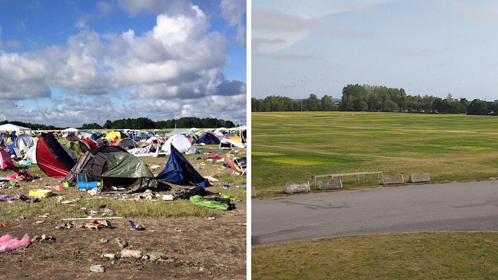 Kollage: Bråvalla måndagen efter musikfestivalen 2016, och Himmelstalundsfältet måndagen efter O-ringen 2019.