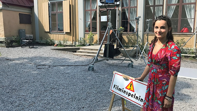 Tyska skådespelerskan Paula Schramm, spelar huvudrollen i en av Inga Lindströmfilmerna som nu spelas in i Norrköping.