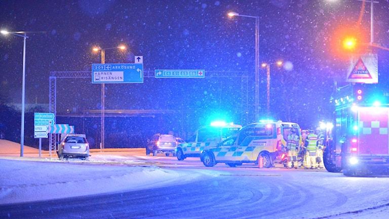 Trafikolyckan i trafikplats Ljura i Norrköping.