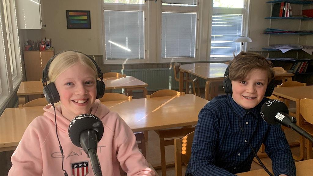 Nolia Nyhammar och Callum Young, Kvinnebyskolan 5B från Linköping