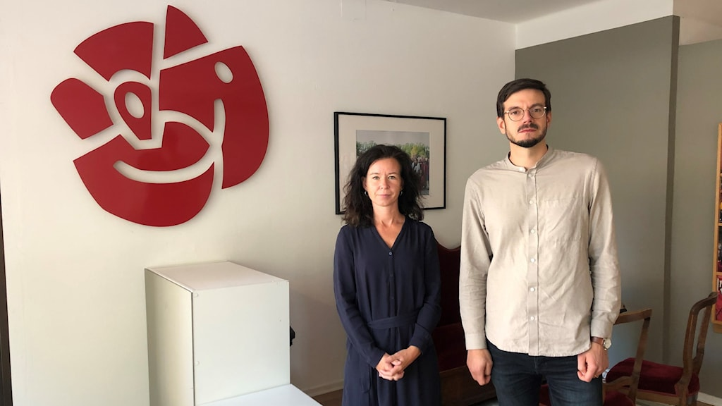 Eva Lindh, (S) riksdagsledamot, och Elias Aguirre, (S) kommunalråd i Linköping