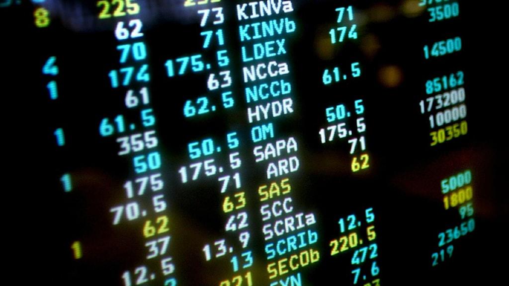 Börsnoteringar.  Foto: Jessica Gow/Scanpix