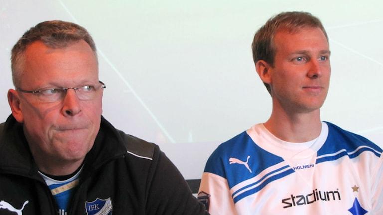 Janne Andersson och Andreas Johansson. Foto: Jonas Almkvist/Sveriges Radio