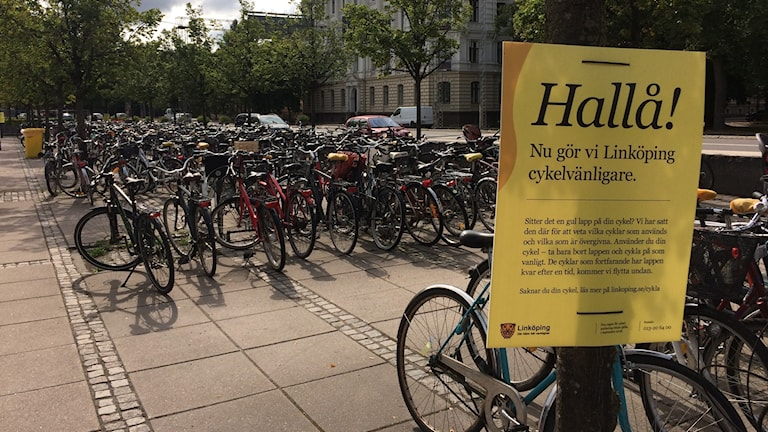 Cyklar, resecentrum, Linköping.