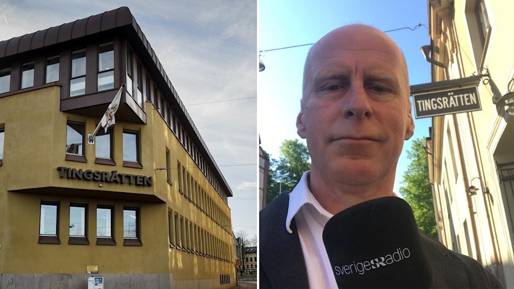 Montage Norrköpings Tingsrätt och Christian Ströberg