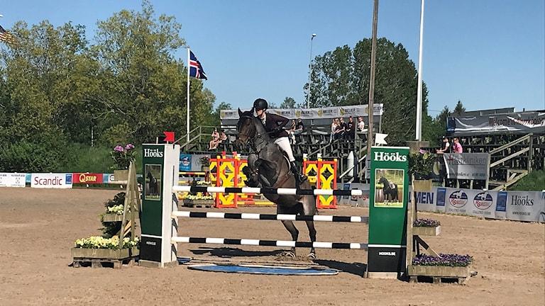 Amanda Nieminen, Orlångens ridsällskap, på hästen Spinda Cantaloupe, är ett av de tävlande ekipagen i hästhoppningen i Norrköping International Horse show.
