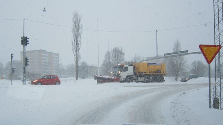 Snöplog på väg foto:Maria Turdén/Sveriges Radio