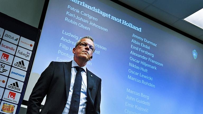 Herrlandslaget i fotbolls förbundskapten Janne Andersson presenterade truppen till VM-kvalpremiären mot Nederländerna.