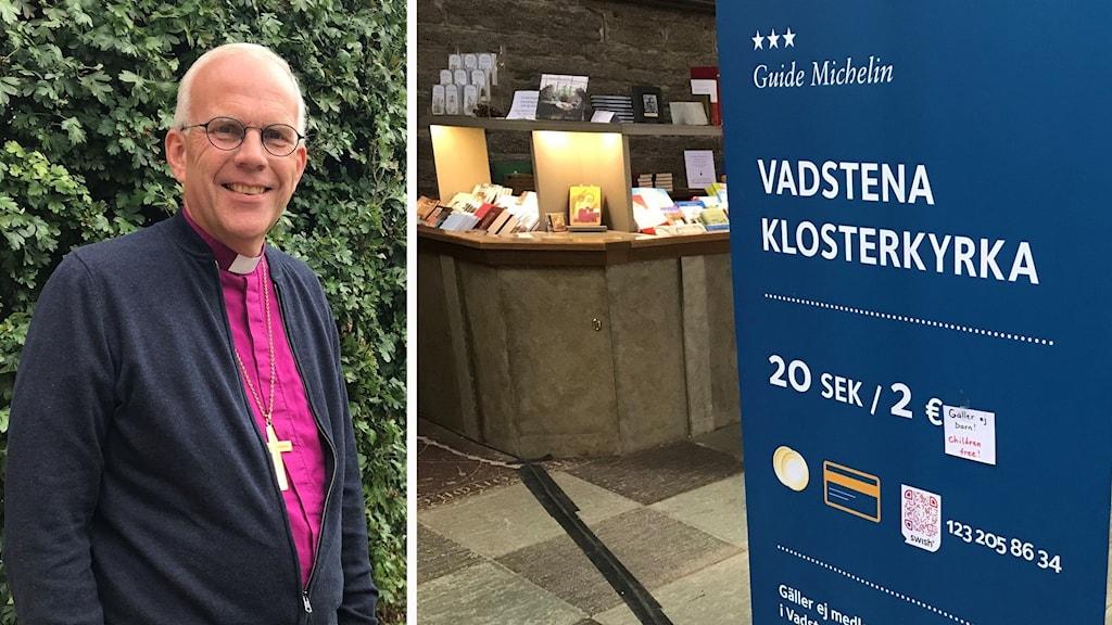 Montage Biskop Martin Modéus, entéskylt Vadstena Klosterkyrka