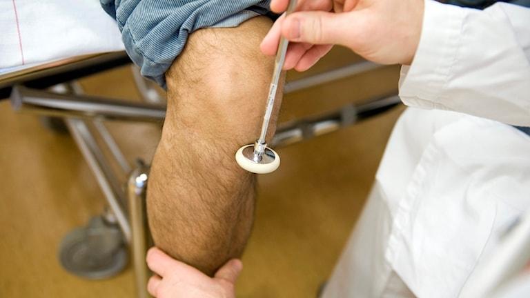 Läkare undersöker ett knä.
