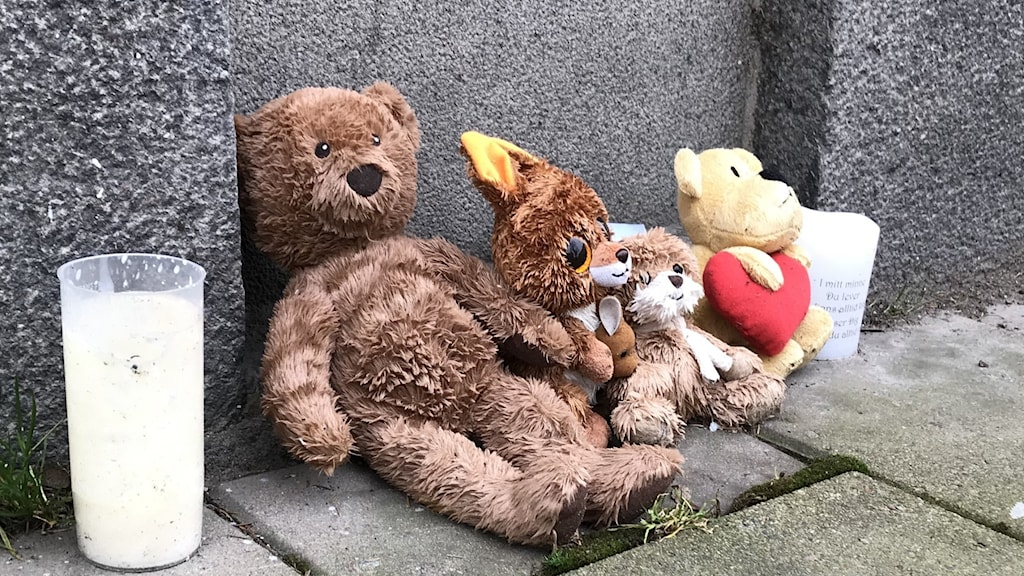 Gosedjur utanför den döda treåriga flickans bostad.