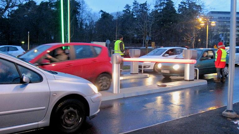 Parkeringen vid US i Linköping med nya bommar foto:Maria Turdén/Sveriges Radio