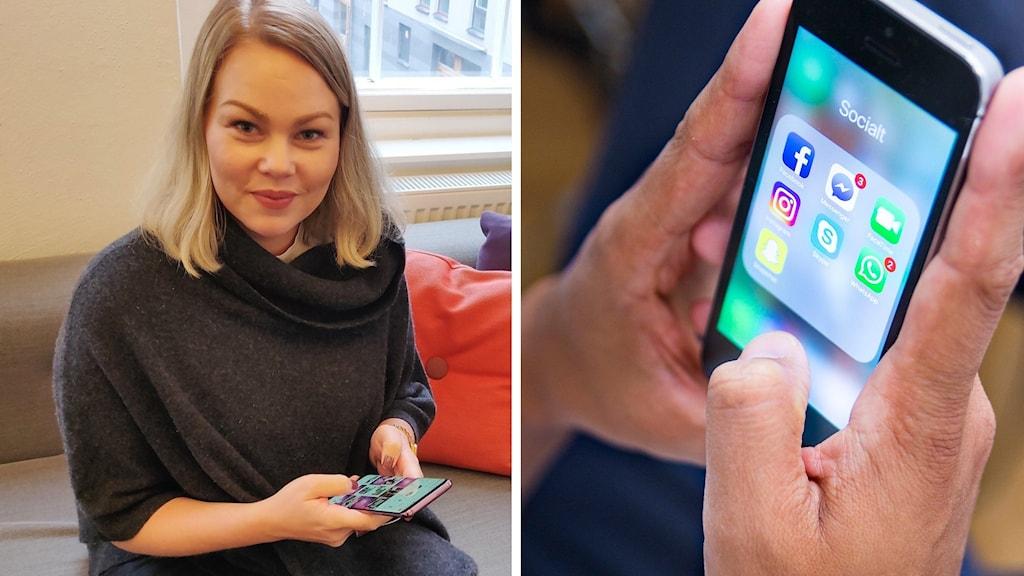 Kollage: Jenni Laapotti och en mobilskärm