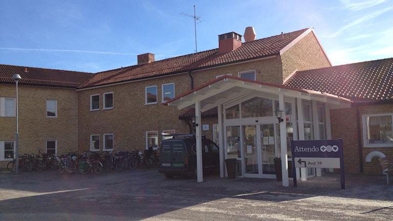 Entrén Åleryds vårdboende. Foto: Annika Selin/Sveriges Radio.