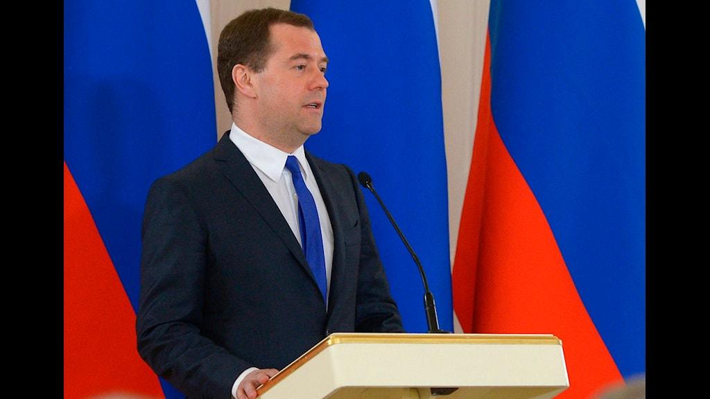 Rysslands premiärminister Dmitrij Medvedev. Foto: Alexander Astafyev/TT