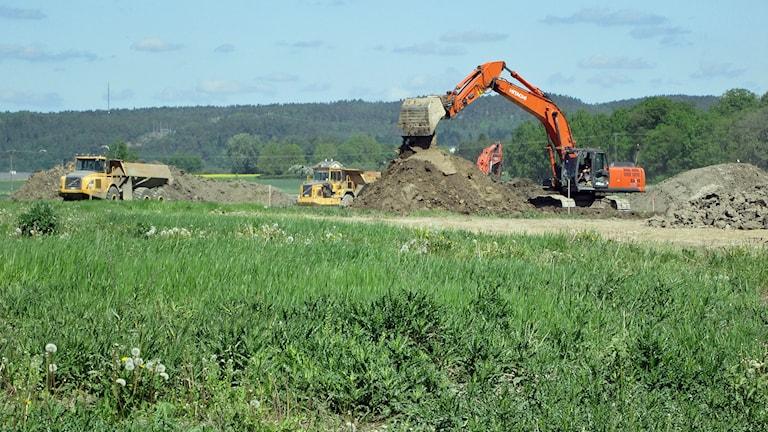 Grävmaskinerna har redan satt igång med bygget av Rustas nya lagerlokal som ska bli 63 700 kvadratmeter stor. Foto: Johan Gustafsson/Sveriges Radio