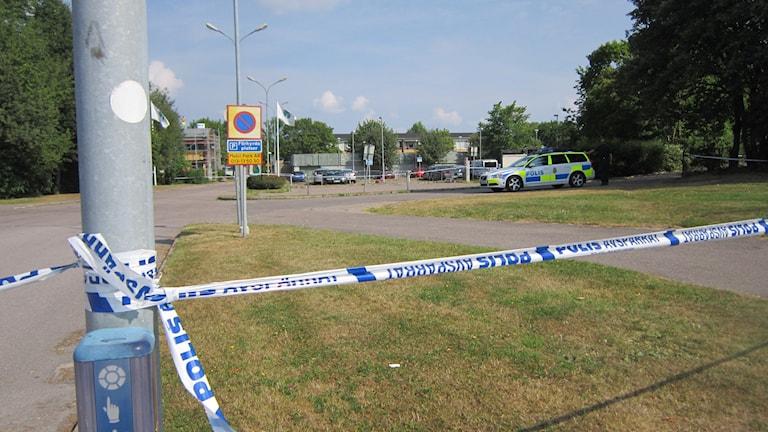 Parekringsplatsen där skottlossningen ägde rum. Foto: Raina Medelius/Sveriges Radio