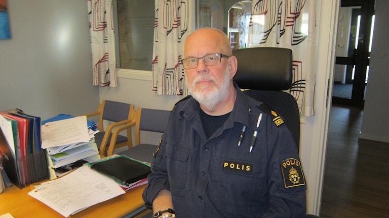 Magnus Thorén, närpolischef i Kinda och Ydre. Foto: Raina Medelius/Sveriges Radio