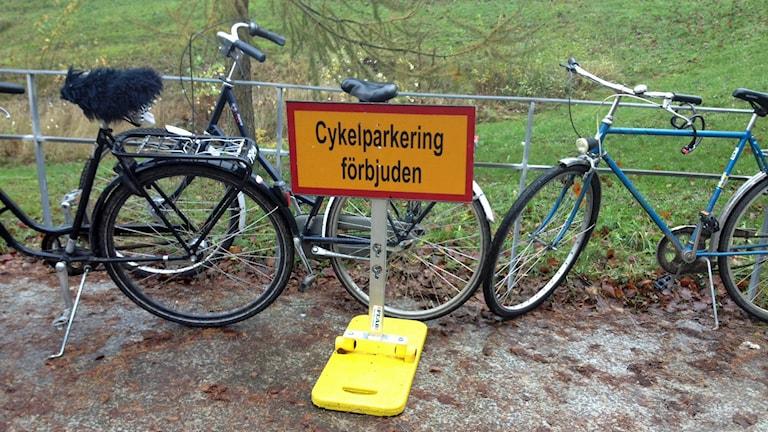 Cyklar parkerade vid förbudsskylt.