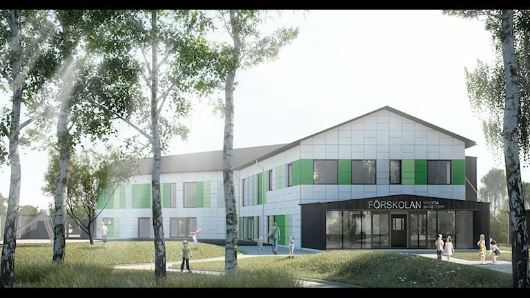 Sveriges miljövänligaste förskola byggs i Motala. Foto/Illustration: Kjellgren Kaminsky Arcitecture AB