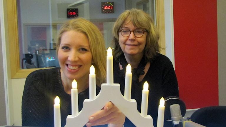 Östgötabänkens Lina Skandevall och Stina Opitz. Foto: Peter Kristensson/Sveriges Radio