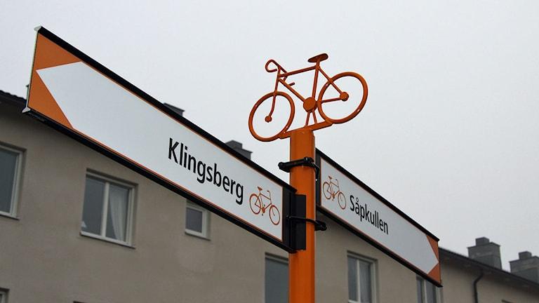Cykelskyltning i Norrköping. Foto: Norrköpings kommun