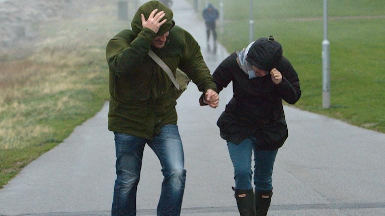 Två människor som går i stark motvind.
