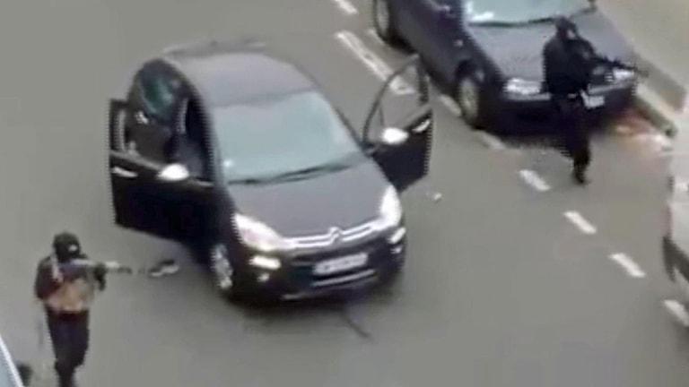 Attentatet mot tidningen Charlie Hebdo i Paris. Foto: AP