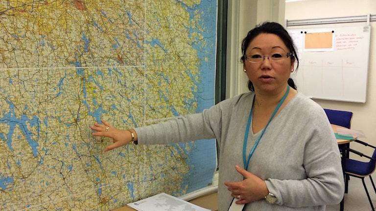 Försvarsdirektör Jenny Knuthammar på länsstyrelsen. Foto: Peter Weyde/Sveriges Radio