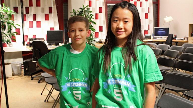 Kevin Karlsson och Sara Lundqvist från Slestadskolan 5 B i Linköping. Foto: Cecilia Osorio/Sveriges Radio