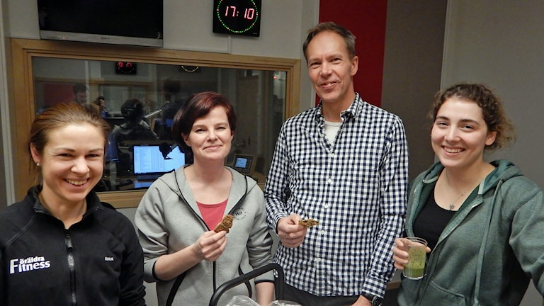 Elmina Saksi, Jessica Knutsson, Ulf Svensson, Stina Danielsson i Motionspanelen. Foto: Petter Ahnoff/Sveriges Radio