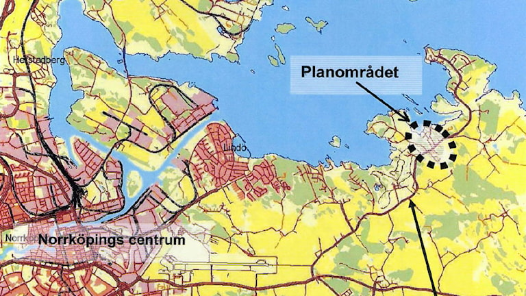 Planområdet Djurön. Karta från Norrköpings kommun