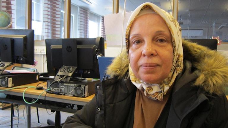 Azizeh Suleiman Abu Ghida i Motala. Foto: Raina Medelius/Sveriges Radio
