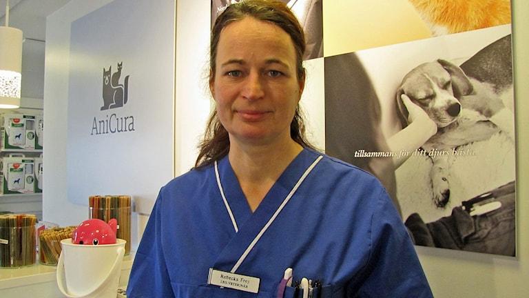 Rebecka Frey, chefsveterinär på Norsholms Djursjukhus. Foto: Elinor Strand/Sveriges Radio