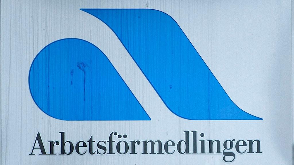 Skylt på Arbetsförmedlingen. Foto: Bertil Enevåg Ericson/TT