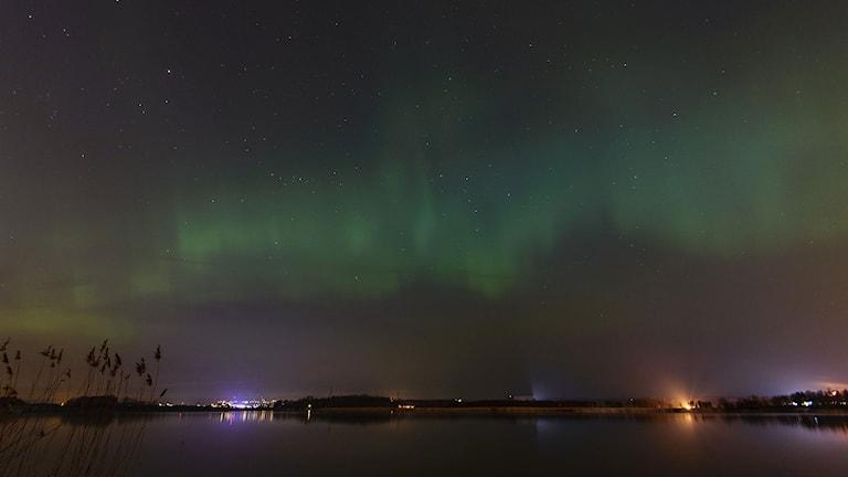 Norrskenet över Norrköping den 17 mars 2015. Foto: Niklas Luks/Nyhetswebben.se