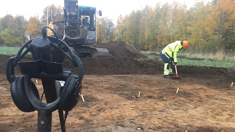 Utgrävning Pryssgården. Arkeolog, arkeologi.